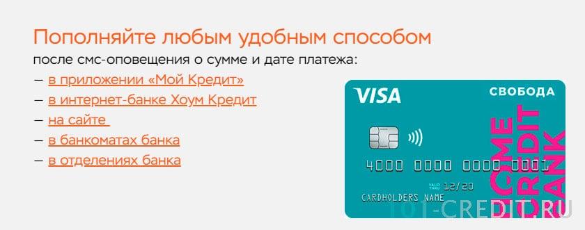 Пополнение карты рассрочки Свобода Хоум Кредит Банка